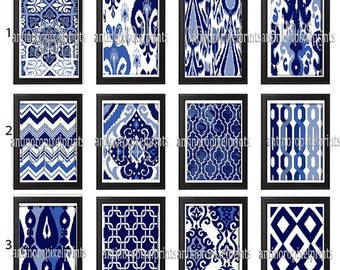 Ikat and Geometric Pattern Set of 6 - Art Prints (Featured in Shades of Navy Blue ) Choose Any (6) Wall Art Print  (UNFRAMED) #198972323