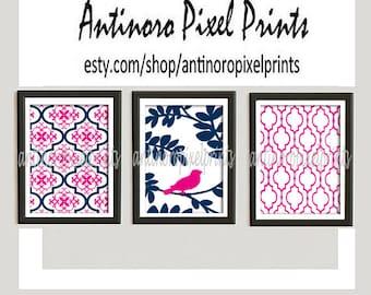 Damask Bird Wall Art Prints Navy Pink Wall Art Set of (3) - 8x10 Prints - (UNFRAMED) Custom Colors Sizes Available