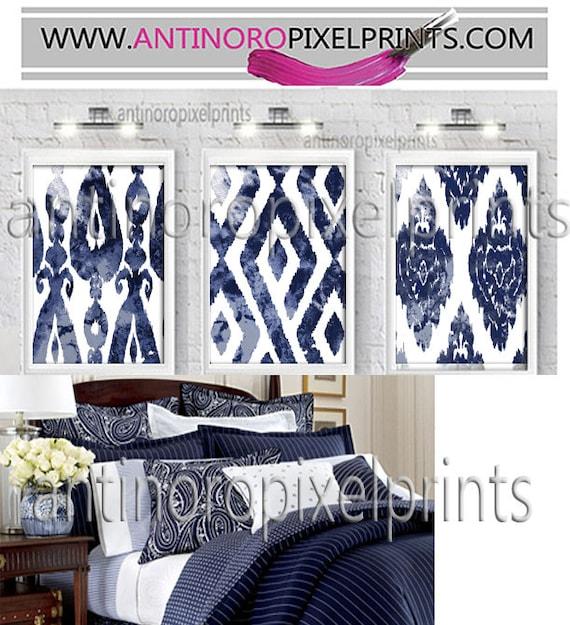 Art Watercolor Ikat Navy Blue White Print Wall Art Prints | Etsy