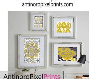 Mustard Yellow Greys Art Wall Gallery Digital Print Vintage / Modern Inspired -Set of (4) -  Prints -  11x14, 8x10, 5x7, 4x6 (UNFRAMED)