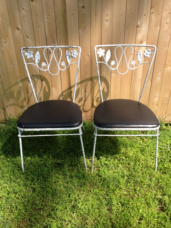 image 0 - Pair Of Vintage Wrought Iron Chairs Etsy