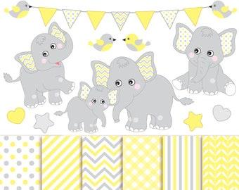 Baby Elephant Clipart & Digital Paper - Vector Baby Elephant Clipart, Nursery Clip Art and Baby Elephant Digital Paper