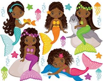 Mermaids Clipart - Vector Mermaids Clipart, Fish Girls Clipart, African American Clipart, Mermaid Clipart, Mermaids Clip Art