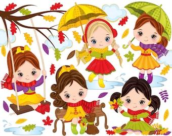 Fall Clipart - Vector Fall Clipart, Autumn Girl Clipart, Fall Girls Clipart, Autumn Kids Clipart, Cute Girls Clipart, Autumn Girl Clip Art