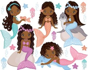 Mermaids Clipart - Vector Mermaids Clipart, Fish Girls Clipart, African American Clipart, Mermaid Clipart, Pastel Clipart, Mermaids Clip Art