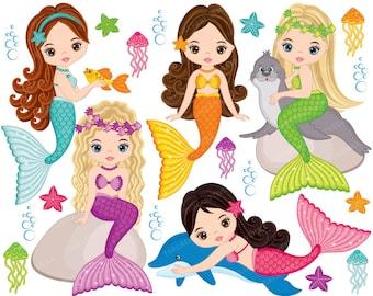 Mermaids Clipart - Vector Mermaids Clipart, Fish Girls Clipart, Mermaid Girl Clipart, Mermaid Clipart, Vector Mermaids Clip Art