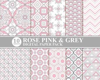 Rose Pink & Grey Digital Scrapbook Paper, Digital Paper Patterns, Scrapbooking Digital Paper, Ornament Digital Paper