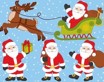 Weihnachtsmann Schlitten Clipart Etsy