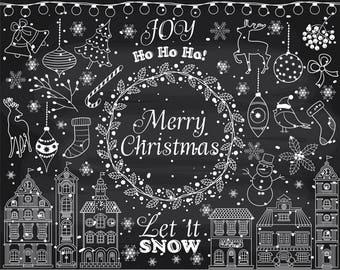 Christmas Chalkboard Art.Chalkboard Christmas Etsy