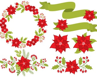 poinsettia clip art etsy rh etsy com Christmas Bells Clip Art Christmas Ornament Clip Art