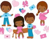 Items Similar To African American Valentines Day Kids Clipart