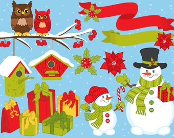 christmas clipart digital vector snowman xmas winter new year owls xmas clip art