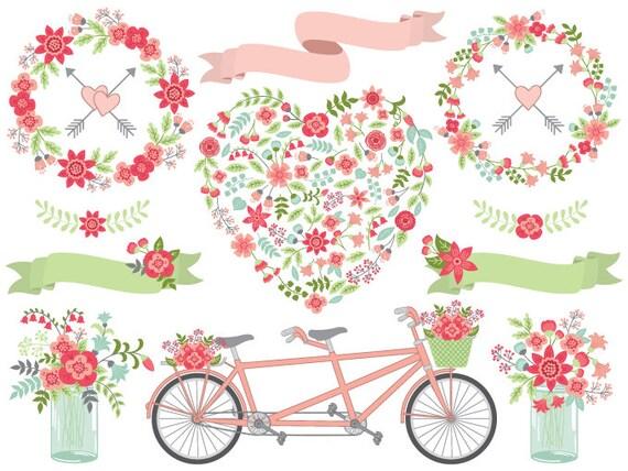 Hochzeit Clipart Vektor Hochzeit Clipart Blumen Hochzeit Etsy