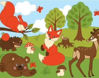 Woodland Animals Clipart - Digital Vector Fox, Squirrel, Bear, Rabbit, Animal Clip Art