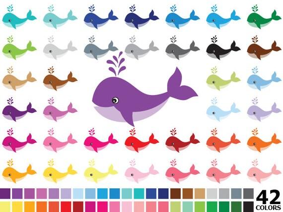 Arco iris Rainbow de Clipart Vector Digital ballena mar | Etsy