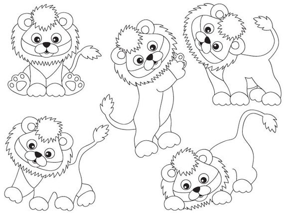 Lions Clipart Digital Vector Safari African Animal Lion Etsy