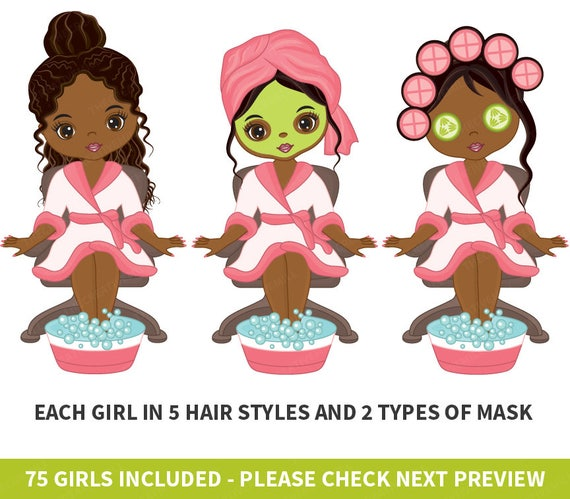 75 spa girls clipart vector spa girl spa party clipart spa etsy