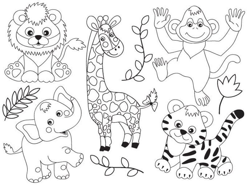 Jungle Animals Clipart Digital Vector Safari Animals