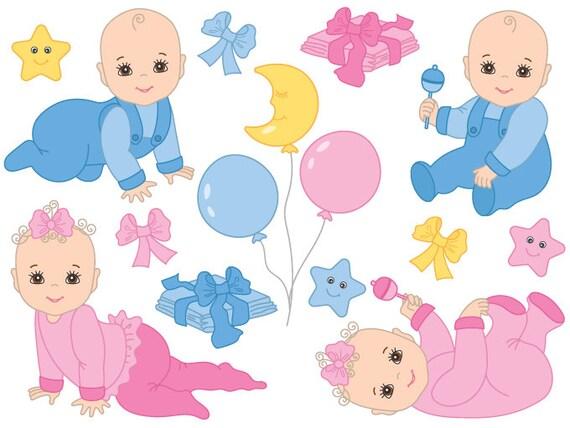Baby Clipart Digital Vector Baby Girl Baby Boy Newborn Etsy