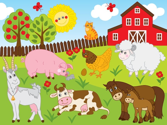 Farm Clipart Vector Farm Clipart Farm Animals Clipart | Etsy