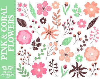 Pink & Coral Floral Clip Art - Leaves, Flowers, Wedding, Pastel, Blossoms, Branches Clip Art
