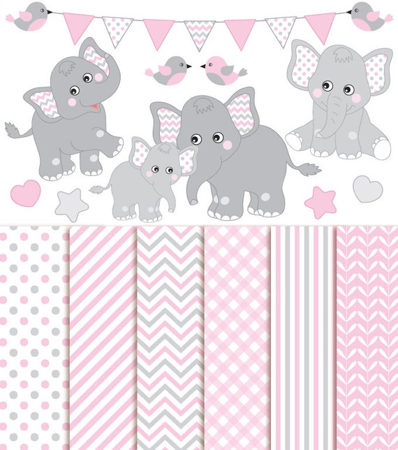 Baby Elephant Clipart & Digital Paper Vector Baby Girl | Etsy