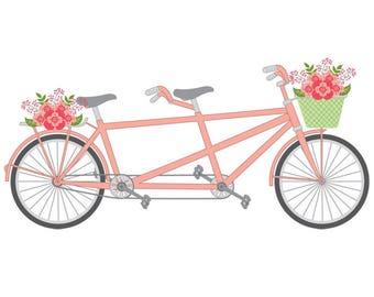 Tandem Bike Clipart - Vector Tandem Bike Clipart, Tandem Bicycle Clipart, Tandem Clipart, Wedding Bicycle Clipart, Tandem Bicycle Clip Art