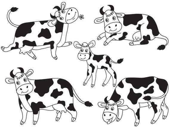 Items Similar To Cows Clipart