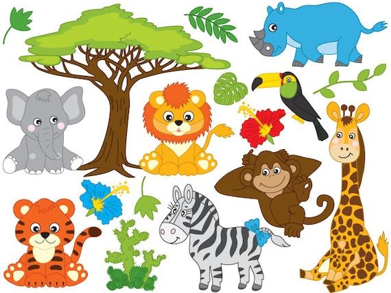 Jungle Animals Clipart Digital Vector Safari Animals | Etsy