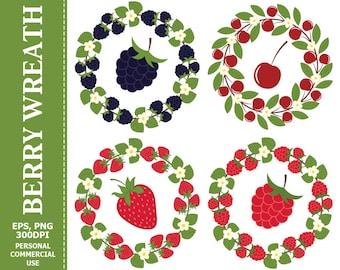 Berry Wreath & Berries Clip Art - Leaves, Wreath, Raspberry, Strawberry, Blackberry, Cherry Clip art
