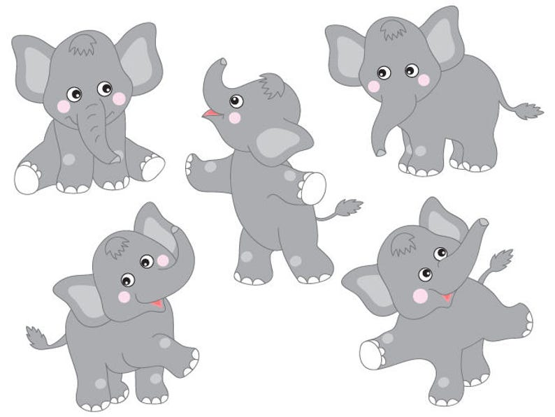 Elefanten Clipart Digitale Vektor Safari Elefant Tier Elefanten Elefanten Clipart
