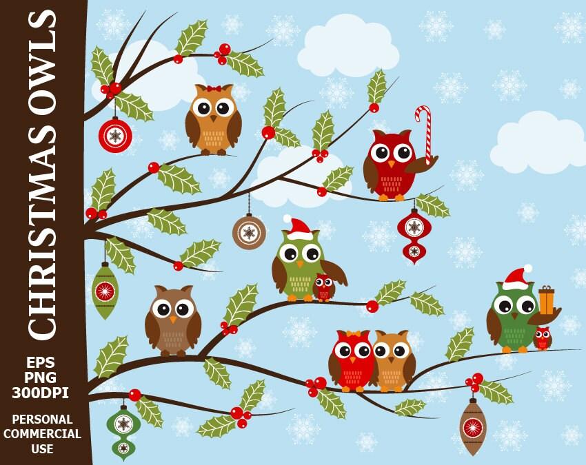 Digitale Weihnachten Eulen ClipArt Stechpalme | Etsy