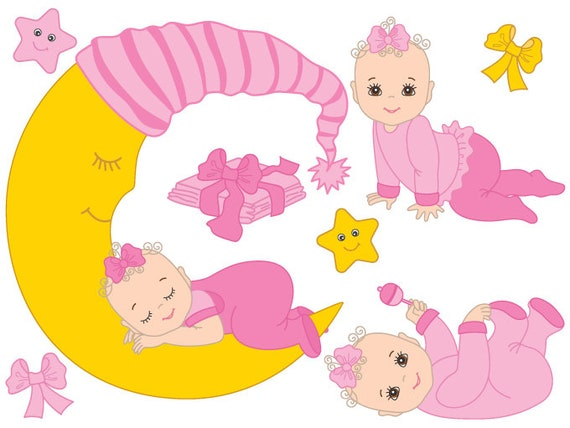 Baby Girl Clipart Digital Vector Baby Girl Infant Newborn Etsy