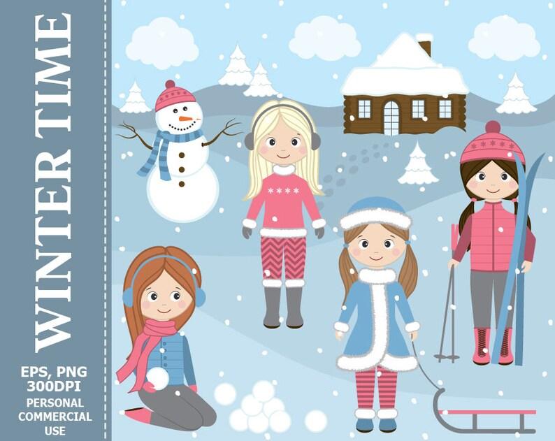 a22a9e0e12d5 Winter Girls Clipart Girls Winter Snow Ski Snowballs