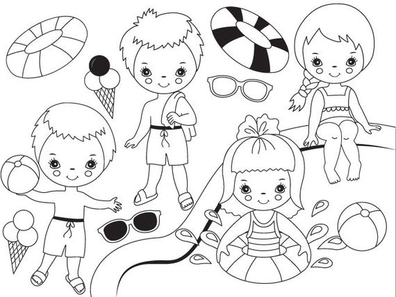Black White Pool Party Kids Clipart Digital Vector