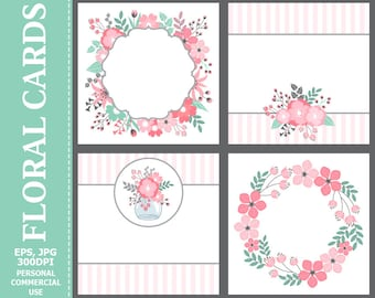 Floral Cards - Leaves, Flowers, Wedding, Pastel, Blossoms, Branches, Flowers Cards Set