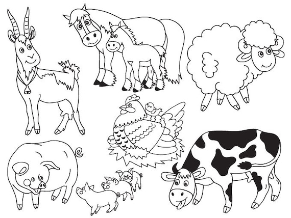Farm Animals Clipart Digital Vector Farm Animals Cow Pig