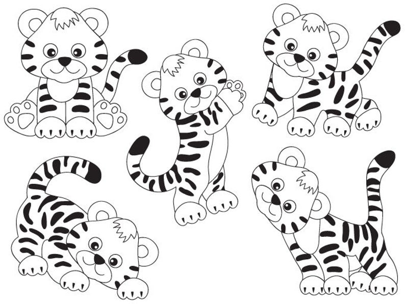 Tiger Clipart Digital Vector Safari African Animal