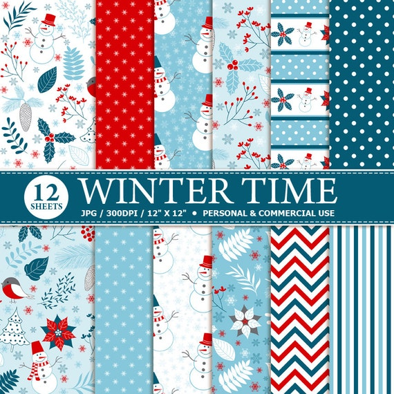 12 Winter Digital Scrapbook Papier download digitale | Etsy