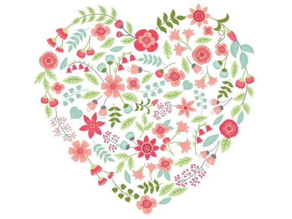 Florale Herz Clipart Vektor Florale Herz Clipart Blume Herz Etsy