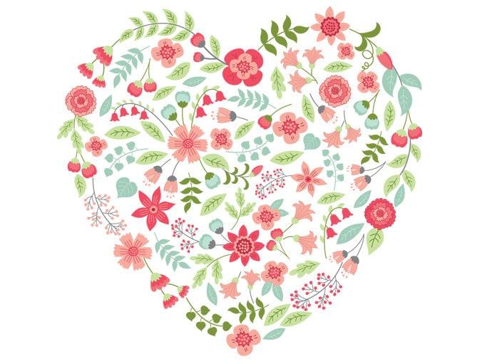 Floral heart clipart vector floral heart clipart flower etsy 50 mightylinksfo