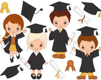 Graduation Kids Clipart - Digital Vector, Boys, Girls, Diploma, Graduation Kids Clip Art