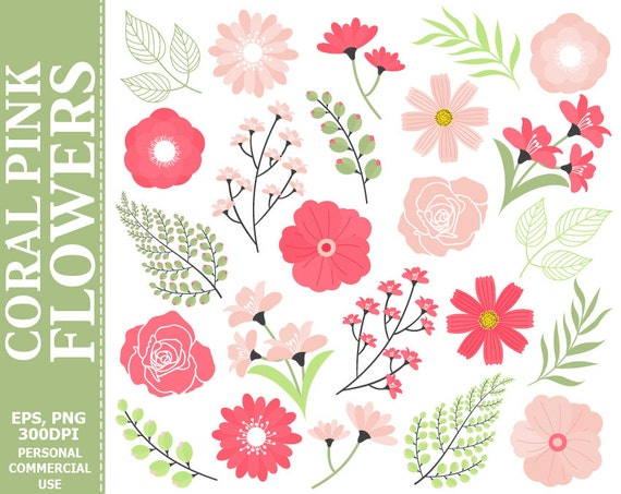 Coral pink flowers clip art leaves flowers pink green etsy image 0 mightylinksfo