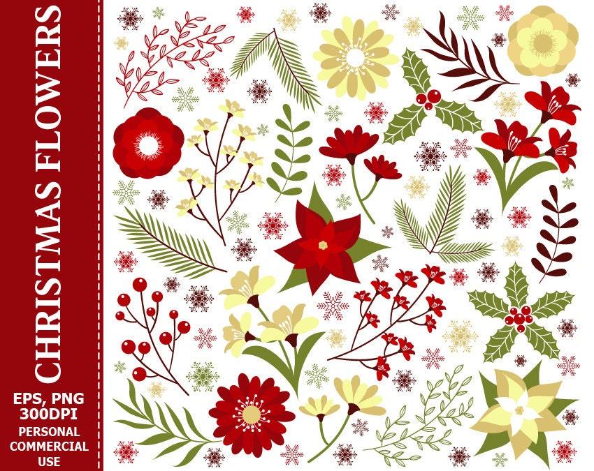 Digitale Weihnachten Blumen ClipArt Blätter Blume Beere | Etsy