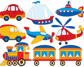 Transport Clipart - Vector Transport Clipart, Boat Clipart, Steam Train Clipart, Car Clipart, Transport Clip Art