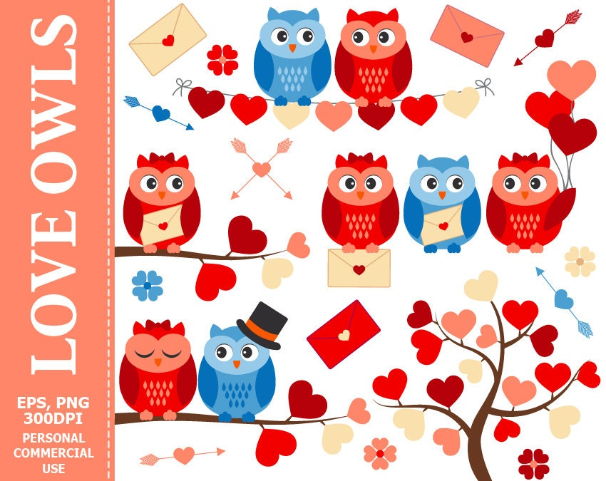 Love Owls Clip Art Owl Hearts Love Wedding Branch | Etsy