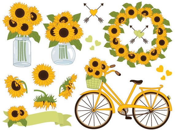 sunflowers clipart digital vector sunflowers clipart mason etsy rh etsy com sunflower clip art free printable sunflowers clip art free