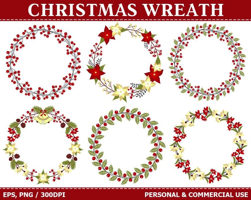 Digitale Weihnachten Kranz ClipArt Holly Kranz Blätter | Etsy