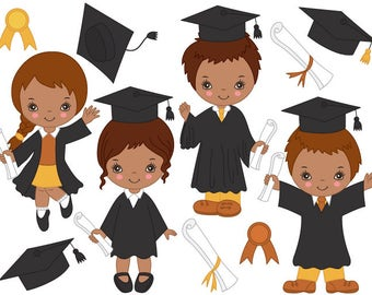 African American Graduation Kids Clipart - Digital Vector, Graduation Kids Clip Art