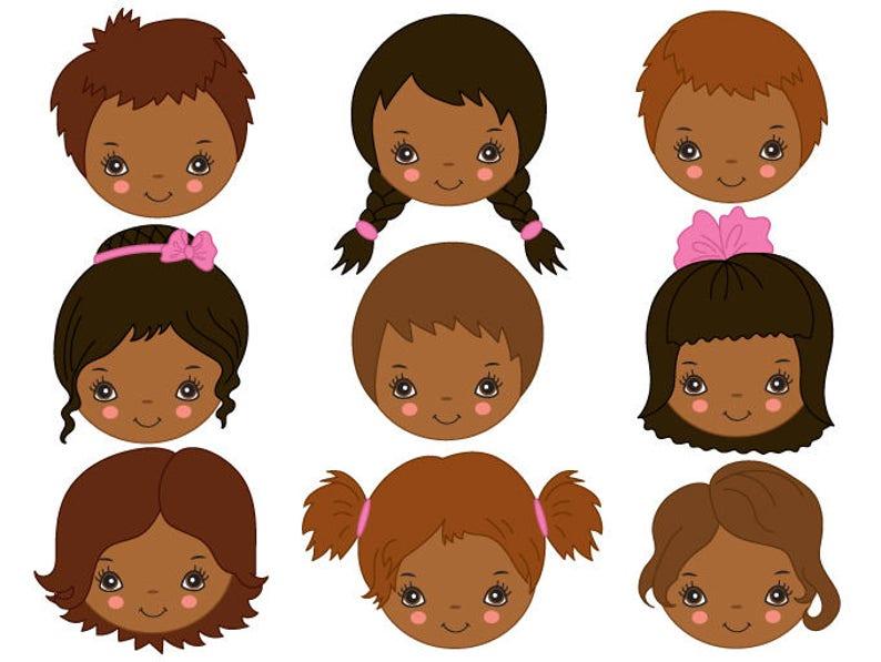 ec9dd15da African American Kids Faces Clipart Digital Vector Girl